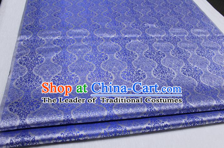 Chinese Traditional Ancient Costume Palace Pattern Cheongsam Mongolian Robe Blue Brocade Tang Suit Fabric Hanfu Material