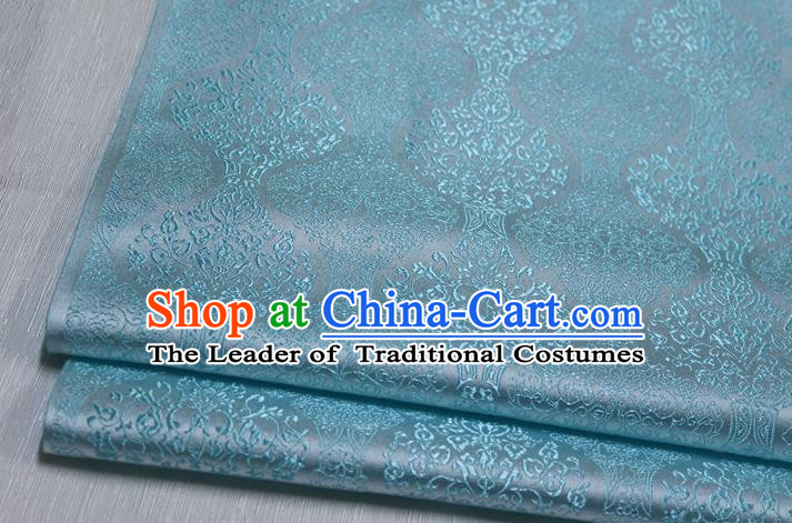 Chinese Traditional Ancient Costume Palace Pattern Cheongsam Mongolian Robe Light Blue Brocade Tang Suit Fabric Hanfu Material
