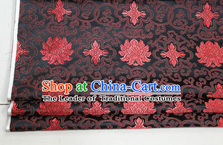 Chinese Traditional Ancient Costume Palace Red Lotus Pattern Mongolian Robe Cheongsam Black Brocade Tang Suit Fabric Hanfu Material
