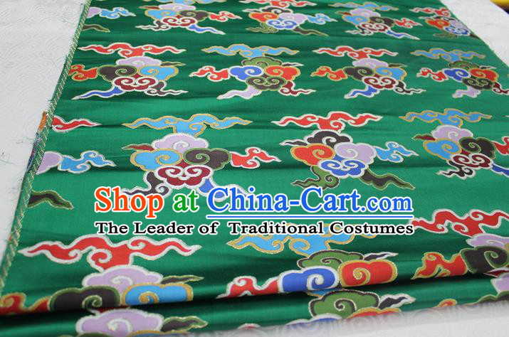 Chinese Traditional Ancient Costume Palace Clouds Pattern Cheongsam Tibetan Robe Green Brocade Tang Suit Fabric Hanfu Material