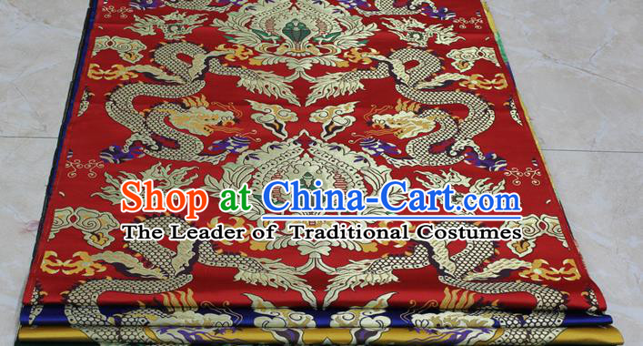Chinese Traditional Ancient Costume Palace Dragons Pattern Mandarin Jacket Tibetan Robe Red Brocade Tang Suit Fabric Hanfu Material