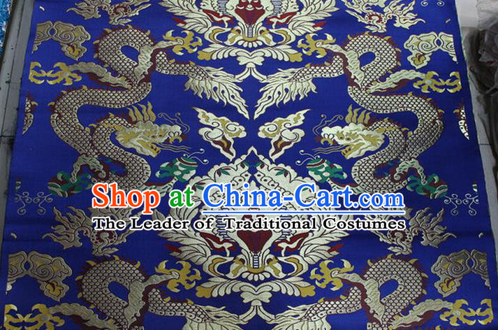 Chinese Traditional Ancient Costume Palace Dragons Pattern Mandarin Jacket Tibetan Robe Royalblue Brocade Tang Suit Fabric Hanfu Material