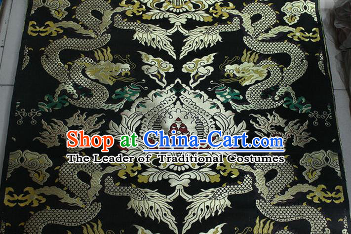 Chinese Traditional Ancient Costume Palace Dragons Pattern Mandarin Jacket Tibetan Robe Black Brocade Tang Suit Fabric Hanfu Material