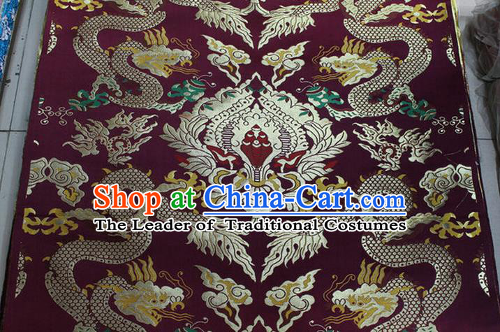 Chinese Traditional Ancient Costume Palace Dragons Pattern Mandarin Jacket Tibetan Robe Purple Brocade Tang Suit Fabric Hanfu Material