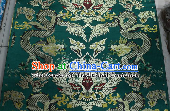Chinese Traditional Ancient Costume Palace Dragons Pattern Mandarin Jacket Tibetan Robe Green Brocade Tang Suit Fabric Hanfu Material