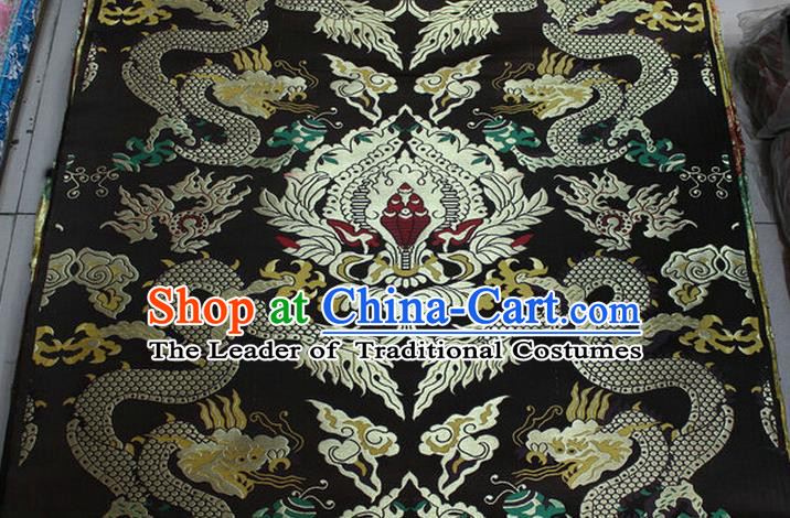 Chinese Traditional Ancient Costume Palace Dragons Pattern Mandarin Jacket Tibetan Robe Deep Brown Brocade Tang Suit Fabric Hanfu Material