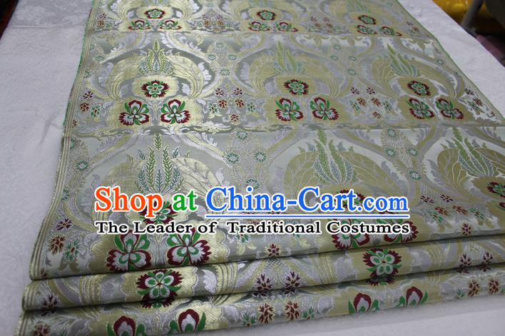 Chinese Traditional Ancient Costume Palace Pattern Cheongsam Tibetan Robe White Brocade Tang Suit Fabric Hanfu Material
