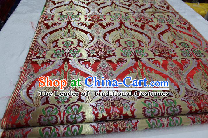 Chinese Traditional Ancient Costume Palace Pattern Cheongsam Tibetan Robe Red Brocade Tang Suit Fabric Hanfu Material