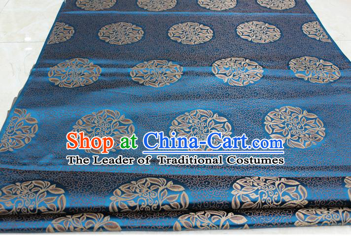 Chinese Traditional Ancient Costume Palace Pattern Cheongsam Tibetan Robe Blue Brocade Tang Suit Satin Fabric Hanfu Material