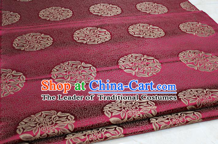 Chinese Traditional Ancient Costume Palace Pattern Cheongsam Tibetan Robe Wine Red Brocade Tang Suit Satin Fabric Hanfu Material