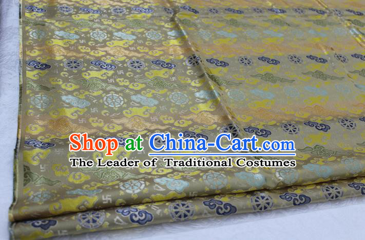 Chinese Traditional Ancient Costume Palace Cloud Pattern Cheongsam Tibetan Robe Brocade Tang Suit Satin Fabric Hanfu Material