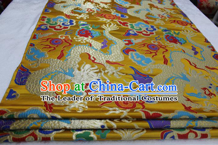 Chinese Traditional Ancient Costume Palace Dragons Pattern Cheongsam Tibetan Robe Yellow Brocade Tang Suit Satin Fabric Hanfu Material