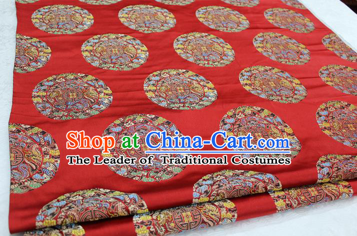 Chinese Traditional Ancient Costume Palace Round Dragons Pattern Mongolian Robe Cheongsam Red Brocade Tang Suit Fabric Hanfu Material