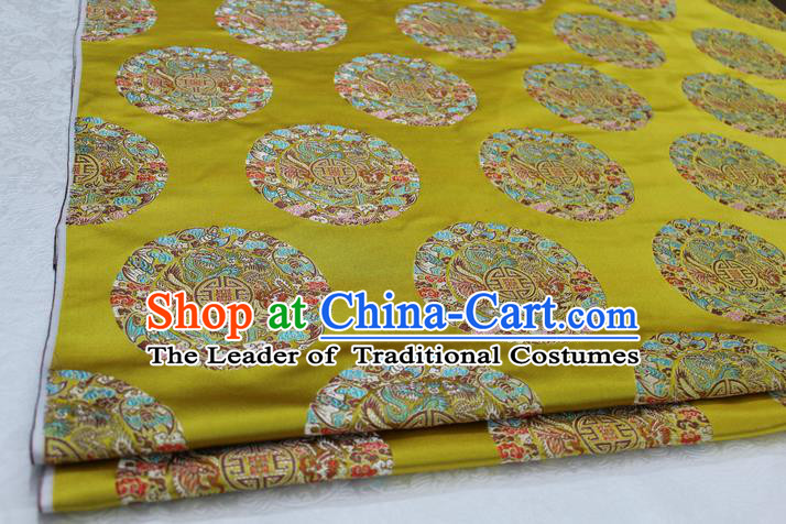 Chinese Traditional Ancient Costume Palace Round Dragons Pattern Mongolian Robe Cheongsam Yellow Brocade Tang Suit Fabric Hanfu Material
