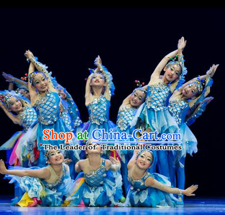 Traditional Chinese Modern Fish Dance Costume, Folk Dance Drum Dance Blue Uniform Yangko Clothing for Kids