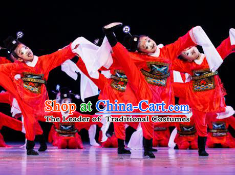 Traditional Chinese Peking Opera Magistrate Dance Costume, Folk Dance Drum Dance Uniform Yangko Clothing for Kids