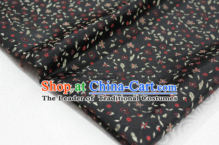 Chinese Traditional Ancient Costume Palace Flowers Pattern Cheongsam Black Brocade Tang Suit Satin Fabric Hanfu Material