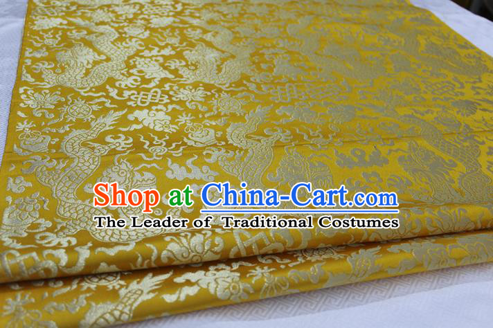 Chinese Traditional Ancient Costume Palace Dragons Pattern Tang Suit Cheongsam Yellow Brocade Mongolian Robe Satin Fabric Hanfu Material