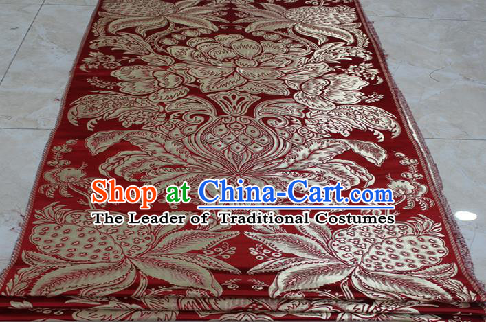 Chinese Traditional Ancient Costume Palace Pattern Tang Suit Xiuhe Suit Red Brocade Mongolian Robe Satin Fabric Hanfu Material