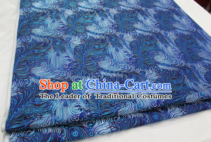 Chinese Traditional Ancient Costume Palace Feather Pattern Tang Suit Blue Brocade Cheongsam Satin Fabric Hanfu Material