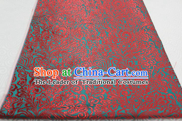 Chinese Traditional Ancient Costume Palace Phoenix Flower Pattern Tang Suit Green Brocade Cheongsam Satin Fabric Hanfu Material