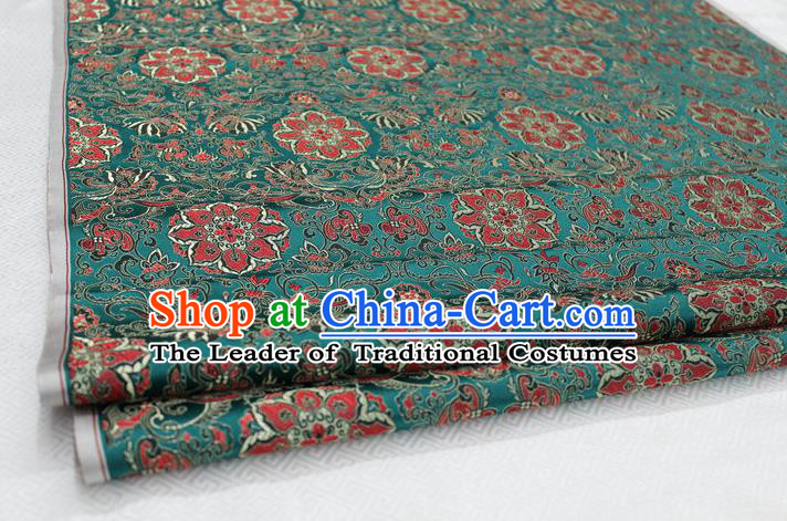 Chinese Traditional Ancient Costume Palace Flower Pattern Tang Suit Green Nanjing Brocade Cheongsam Satin Fabric Hanfu Material