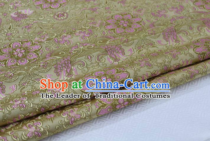 Chinese Traditional Ancient Costume Palace Flower Pattern Tang Suit Golden Nanjing Brocade Cheongsam Satin Fabric Hanfu Material