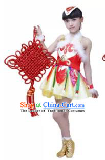 Traditional Chinese Yangge Fan Dance Costume, Folk Dance Drum Dance Uniform Yangko Short Dress Clothing for Kids