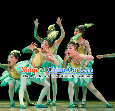Traditional Chinese Yangge Fan Classic Dance Costume, Folk Dance Drum Dance Uniform Yangko Green Clothing for Kids