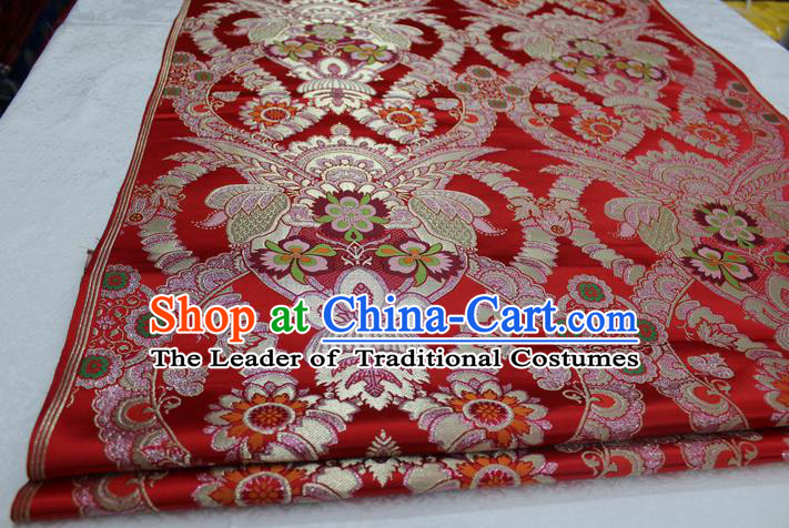 Chinese Traditional Ancient Costume Palace Enkianthus Pattern Cheongsam Red Brocade Tang Suit Satin Fabric Hanfu Material