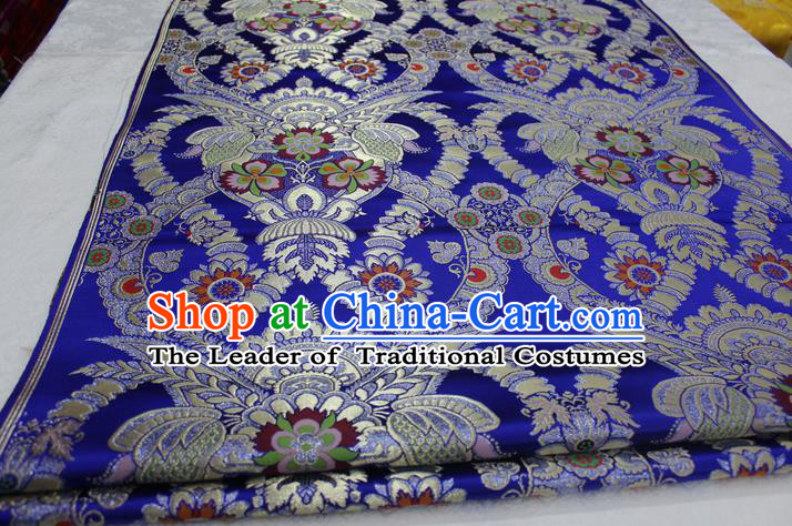 Chinese Traditional Ancient Costume Palace Enkianthus Pattern Cheongsam Blue Brocade Tang Suit Satin Fabric Hanfu Material