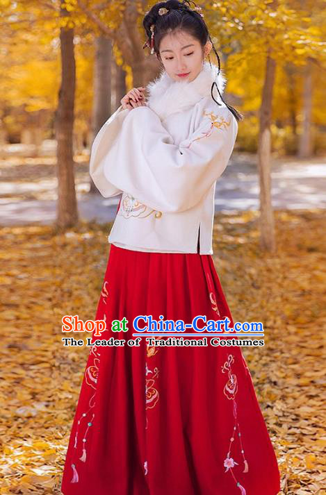 Traditional Chinese Ming Dynasty Princess Palace Lady Costume Embroidered Blouse and Skirt for Women