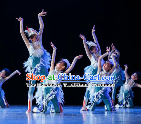 Traditional Chinese Yangge Fan Ballet Dance Costume, Folk Dance Drum Dance Blue Uniform Yangko Clothing for Kids