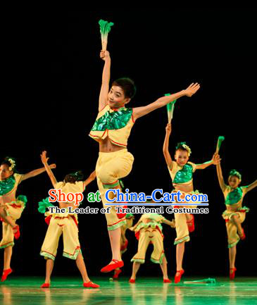 Traditional Chinese Classic Stage Performance Yangge Fan Dance Costume, Folk Dance Drum Dance Uniform Yangko Clothing for Kids