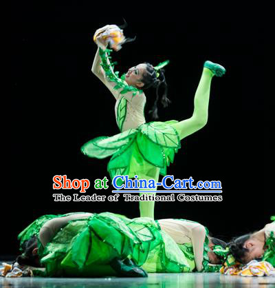 Traditional Chinese Classic Stage Performance Dance Costume, Folk Dance Green Uniform Yangko Clothing for Kids