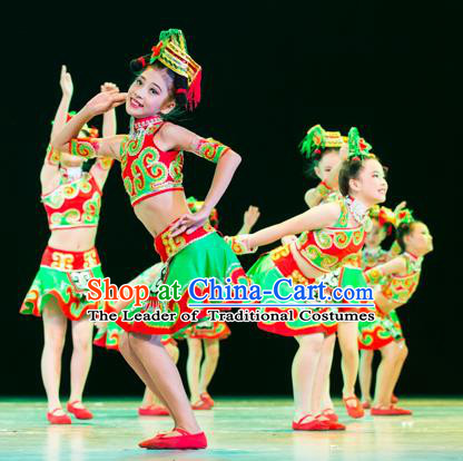 Traditional Chinese Miao Nationality Dance Costume, Hmong Folk Dance Ethnic Pleated Skirt Embroidery Clothing for Kids