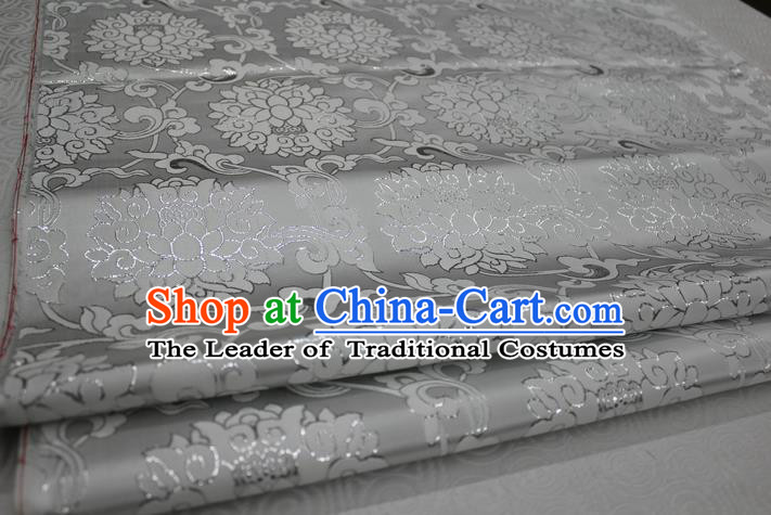 Chinese Traditional Ancient Costume Palace Pattern Xiuhe Suit White Brocade Cheongsam Satin Mongolian Robe Fabric Hanfu Material