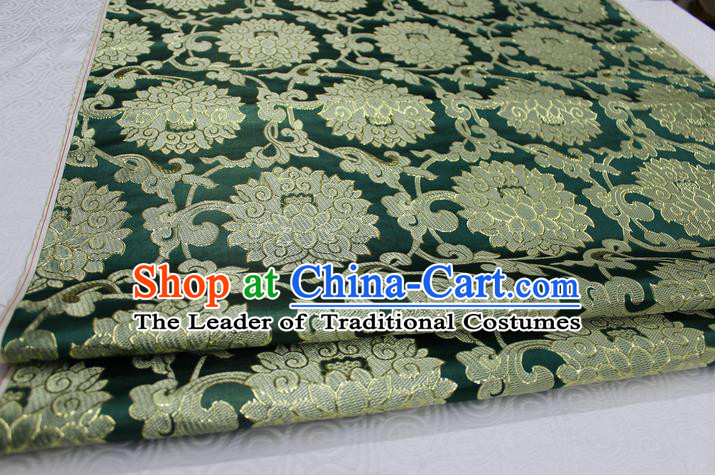 Chinese Traditional Ancient Costume Palace Pattern Xiuhe Suit Green Brocade Cheongsam Satin Mongolian Robe Fabric Hanfu Material
