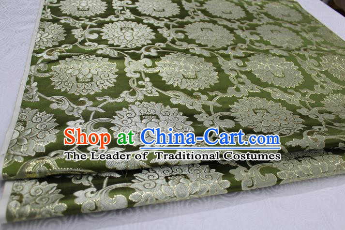 Chinese Traditional Ancient Costume Palace Pattern Xiuhe Suit Olive Green Brocade Cheongsam Satin Mongolian Robe Fabric Hanfu Material