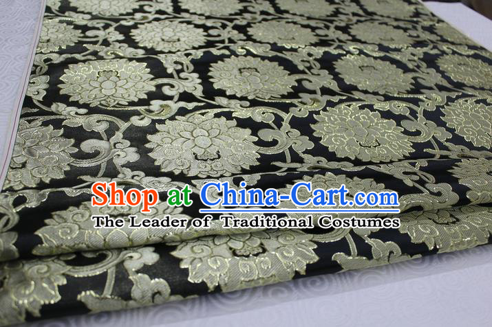 Chinese Traditional Ancient Costume Palace Pattern Xiuhe Suit Black Brocade Cheongsam Satin Mongolian Robe Fabric Hanfu Material