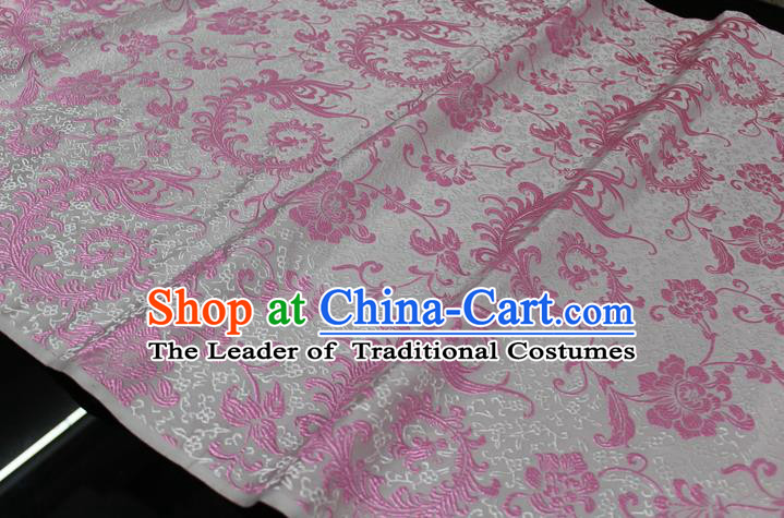 Chinese Traditional Ancient Costume Palace Pink Ombre Flowers Pattern Xiuhe Suit White Brocade Cheongsam Satin Fabric Hanfu Material