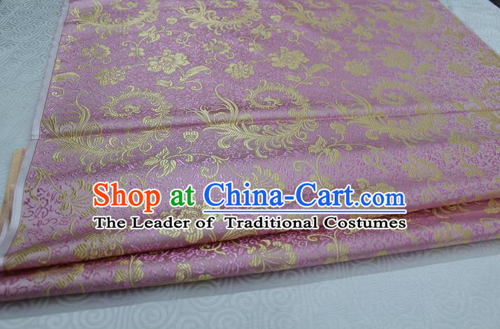 Chinese Traditional Ancient Costume Palace Ombre Flowers Pattern Xiuhe Suit Pink Brocade Cheongsam Satin Fabric Hanfu Material