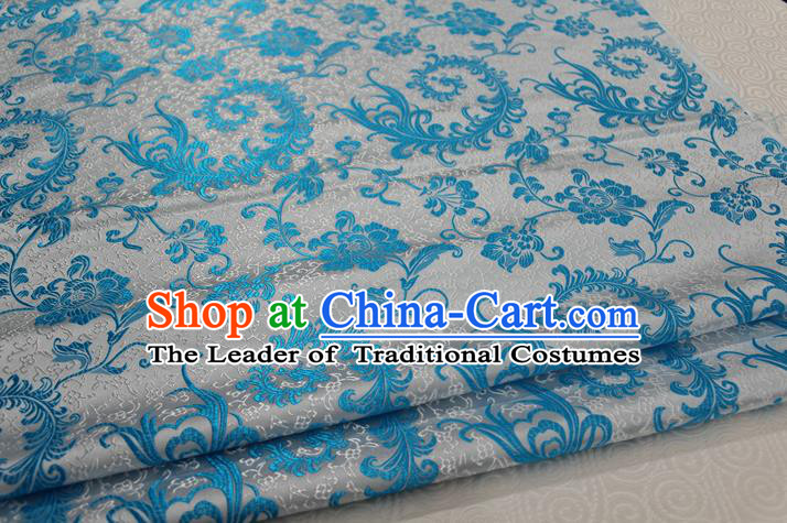Chinese Traditional Ancient Costume Palace Blue Ombre Flowers Pattern Xiuhe Suit Brocade Cheongsam Satin Fabric Hanfu Material