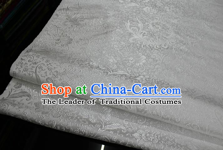 Chinese Traditional Ancient Costume Palace Ombre Flowers Pattern Xiuhe Suit White Brocade Cheongsam Satin Fabric Hanfu Material