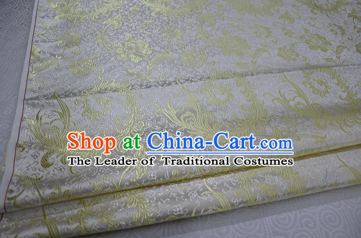 Chinese Traditional Ancient Costume Palace Golden Ombre Flowers Pattern Xiuhe Suit White Brocade Cheongsam Satin Fabric Hanfu Material