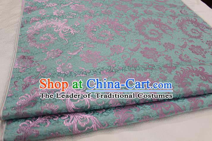 Chinese Traditional Ancient Costume Palace Ombre Flowers Pattern Xiuhe Suit Green Brocade Cheongsam Satin Fabric Hanfu Material