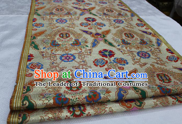 Chinese Traditional Ancient Costume Palace Pattern Xiuhe Suit Brocade Mongolian Robe Satin Fabric Hanfu Material