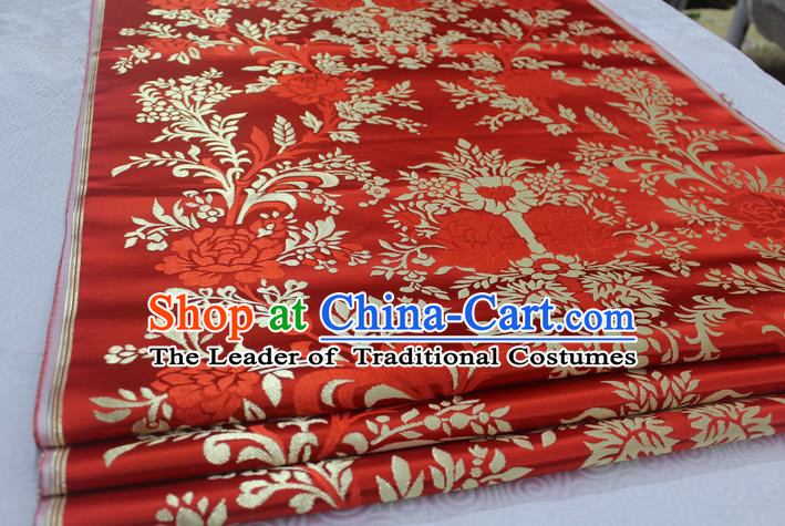 Chinese Traditional Ancient Costume Palace Peony Pattern Xiuhe Suit Red Brocade Mongolian Robe Satin Fabric Hanfu Material