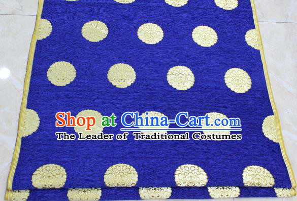 Chinese Traditional Ancient Costume Palace Pattern Deep Blue Brocade Mongolian Robe Satin Fabric Hanfu Material