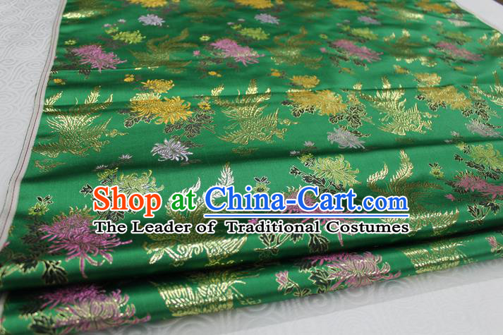 Chinese Traditional Ancient Costume Palace Phoenix Chrysanthemum Pattern Cheongsam Green Brocade Xiuhe Suit Satin Fabric Hanfu Material